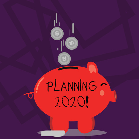 Writing note showing Planning 2020. Business concept for process of making plans for something next year Piggy Bank Sideview and Dollar Coins Falling Down to Slit Stockfoto