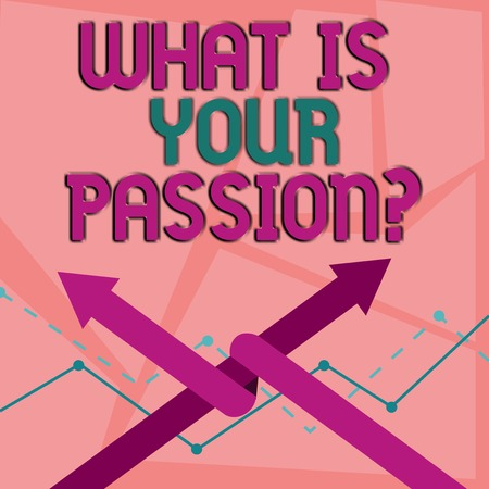 Word writing text What Is Your Passion Question. Business photo showcasing asking about his strong and barely controllable emotion Two Arrows where One is Intertwined to the other as Team Up or Competition 版權商用圖片