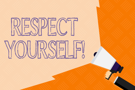 Conceptual hand writing showing Respect Yourself. Concept meaning believing that you good and worthy being treated well Hand Holding Megaphone with Beam Extending the Volume Range Stock Photo