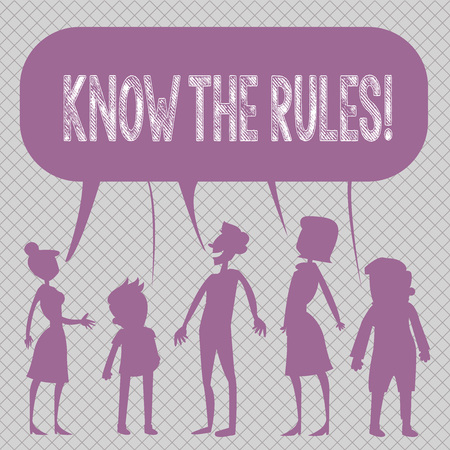 Conceptual hand writing showing Know The Rules. Concept meaning set explicit or regulation principles governing conduct Figure of People Talking and Sharing Colorful Speech Bubble