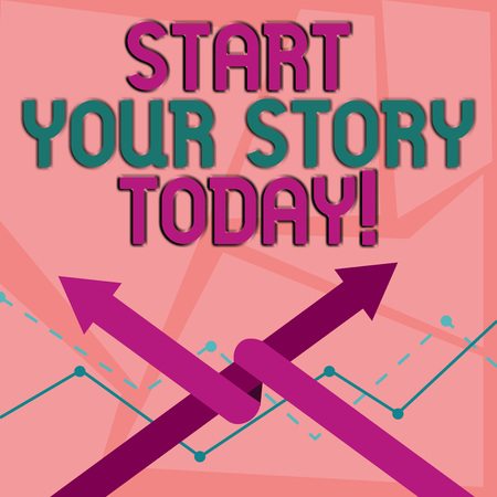 Word writing text Start Your Story Today. Business photo showcasing work hard on yourself and begin from this moment Two Arrows where One is Intertwined to the other as Team Up or Competition