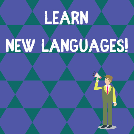 Word writing text Learn New Languages. Business photo showcasing developing ability to communicate in foreign lang Businessman Looking Up, Holding and Talking on Megaphone with Volume Icon 版權商用圖片