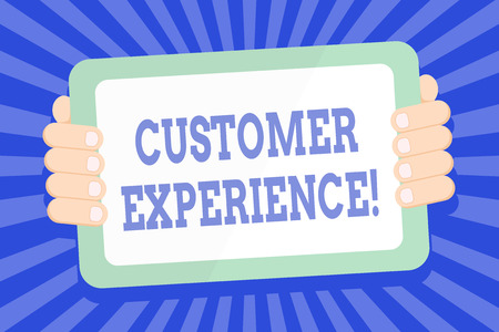 Text sign showing Customer Experience. Business photo text product of interaction between organization and buyer Color Tablet Smartphone with Blank Screen Handheld from the Back of Gadget Imagens