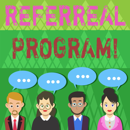 Text sign showing Referral Program. Business photo text internal recruitment method employed by organizations Group of Business People with Blank Color Chat Speech Bubble with Three Dots Foto de archivo