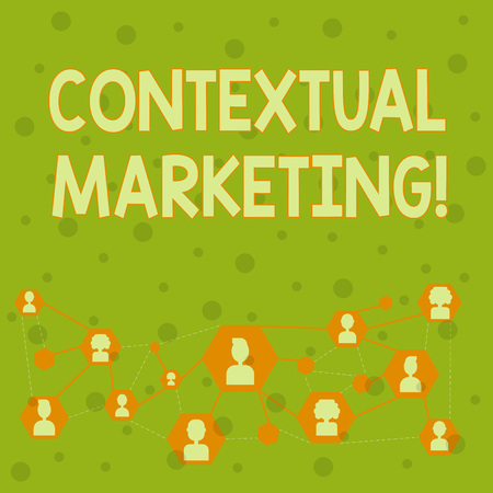 Word writing text Contextual Marketing. Business photo showcasing online and mobile marketing Behavioural targeting Online Chat Head Icons with Avatar and Connecting Lines for Networking Idea