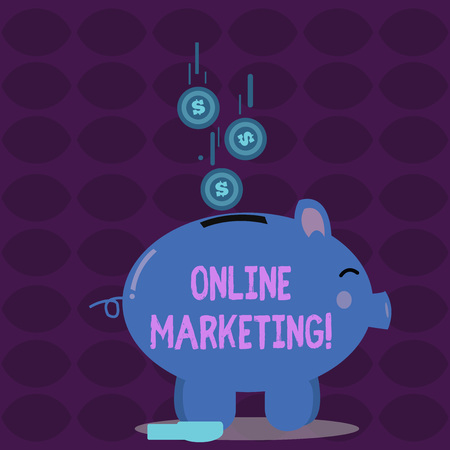 Conceptual hand writing showing Online Marketing. Concept meaning leveraging web based channels spread about companys brand Piggy Bank Sideview and Dollar Coins Falling Down to Slit Stock Photo