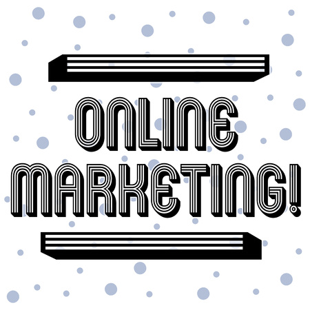 Handwriting text Online Marketing. Conceptual photo leveraging web based channels spread about companys brand Seamless Blue Polka Dots Tiny Circles Pattern in Random on White Isolated