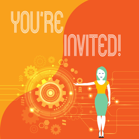 Handwriting text You Re Invited. Conceptual photo make a polite friendly request to someone go somewhere Woman Standing and Presenting the SEO Process with Cog Wheel Gear inside Stock Photo