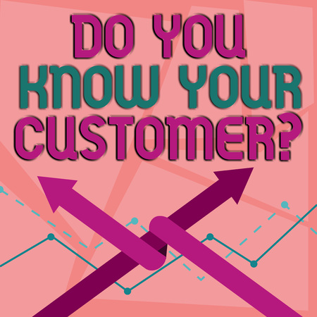 Word writing text Do You Know Your Customer Question. Business photo showcasing service identify clients with relevant information Two Arrows where One is Intertwined to the other as Team Up or Competition 写真素材