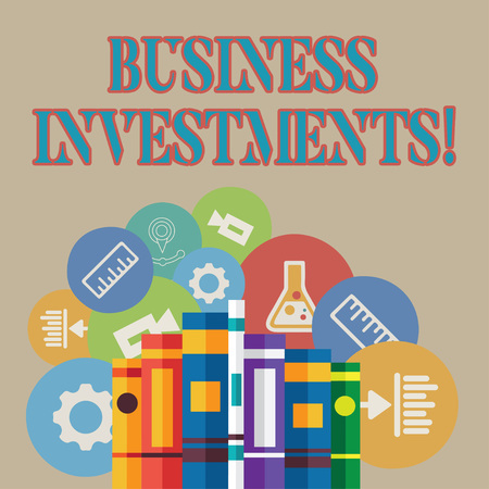Word writing text Business Investments. Business photo showcasing act of committing money or capital to an endeavor Books Arranged Standing Up in Row with Assorted Educational Icons Behind