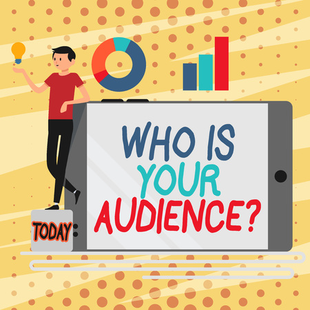 Conceptual hand writing showing Who Is Your Audience Question. Concept meaning who is watching or listening to it Man Leaning on Smartphone Turned on Side Graph and Idea Icon Stok Fotoğraf