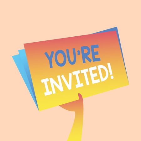 Handwriting text writing You Re Invited. Conceptual photo make a polite friendly request to someone go somewhere Hand Holding and Raising Blank Space Colorful File Folder with Sheet Inside Stock Photo - 121028265