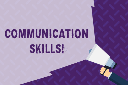 Text sign showing Communication Skills. Business photo showcasing ability to convey information to another effectively Hand Holding Megaphone with Blank Wide Beam for Extending the Volume Range