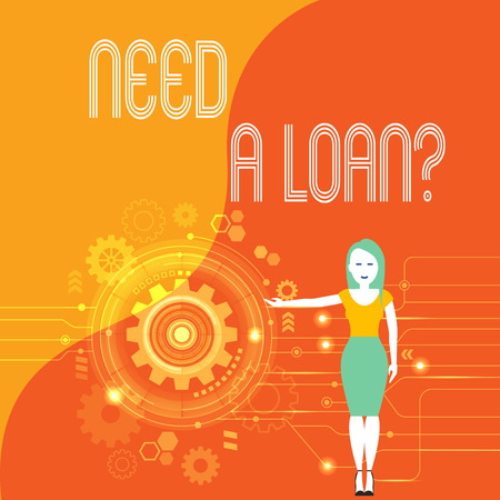 Handwriting text Need A Loan Question. Conceptual photo asking he need money expected paid back with interest Woman Standing and Presenting the SEO Process with Cog Wheel Gear inside