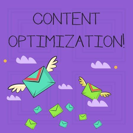 Writing note showing Content Optimization. Business concept for techniques to improve search results and ranking Colorful Airmail Letter Envelopes and Two of Them with Wings