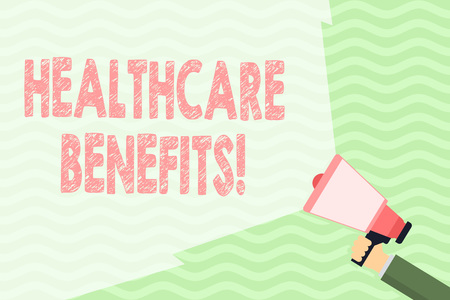 Conceptual hand writing showing Healthcare Benefits. Concept meaning monthly fair market valueprovided to Employee dependents Hand Holding Megaphone with Beam Extending the Volume Range 스톡 콘텐츠