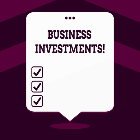 Writing note showing Business Investments. Business concept for act of committing money or capital to an endeavor White Speech Balloon Floating with Three Punched Hole on Top Foto de archivo