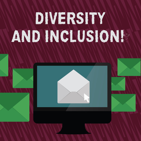 Text sign showing Diversity And Inclusion. Business photo text range huanalysis difference includes race ethnicity gender Open Color Envelope inside Computer Screen. Letter Casing Surrounds the PC