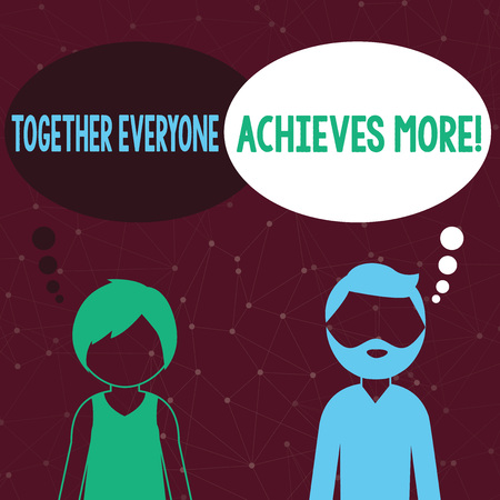 Handwriting text writing Together Everyone Achieves More. Conceptual photo Members create synergy with strong sense mutual commitment Bearded Man and Woman Faceless Profile with Blank Colorful Thought Bubble