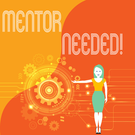 Handwriting text Mentor Needed. Conceptual photo Employee training under senior assigned act as advisor Woman Standing and Presenting the SEO Process with Cog Wheel Gear inside