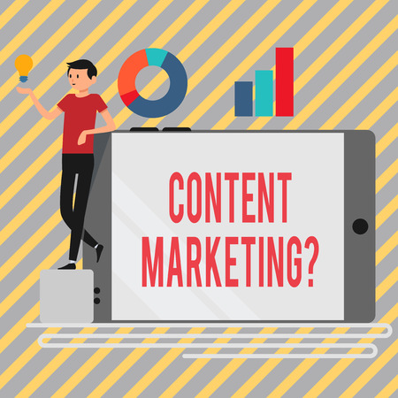 Writing note showing Content Marketing Question. Business concept for involves creation and sharing of online material Man Leaning on Smartphone Turned on Side Graph and Idea Icon