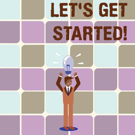 Conceptual hand writing showing Let S Get Started. Concept meaning encouraging someone to begin doing something Businessman Raising Arms Upward with Lighted Bulb icon above Stockfoto