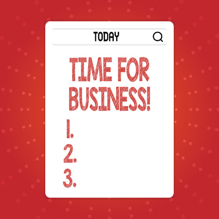 Text sign showing Time For Business. Business photo text fulfil transactions within period promised to client Search Bar with Magnifying Glass Icon photo on Blank Vertical White Screen