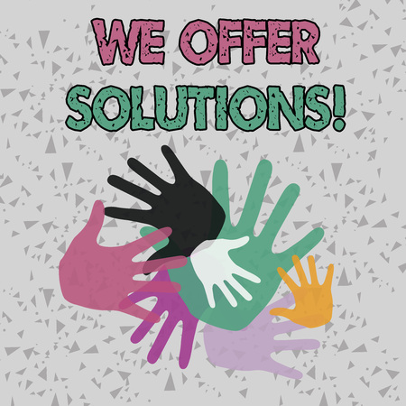 Text sign showing We Offer Solutions. Business photo showcasing way to solve problem or deal with difficult situation Color Hand Marks of Different Sizes Overlapping for Teamwork and Creativity