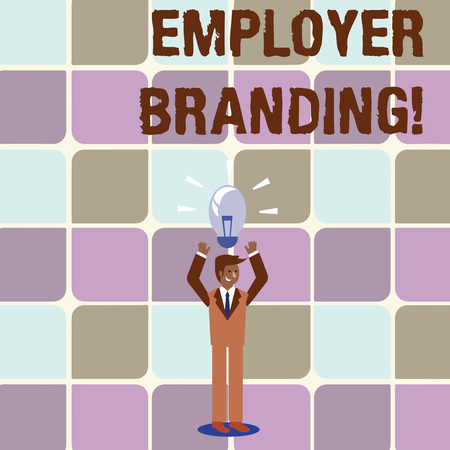 Conceptual hand writing showing Employer Branding. Concept meaning promoting company employer choice to desired target group Businessman Raising Arms Upward with Lighted Bulb icon above