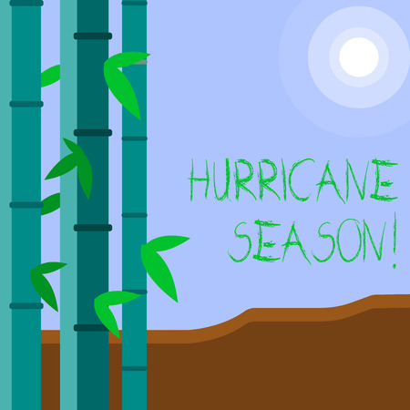 Word writing text Hurricane Season. Business photo showcasing time when most tropical cyclones are expected to develop Colorful Sets of Leafy Bamboo on Left Side and Moon or Sun with Round Beam