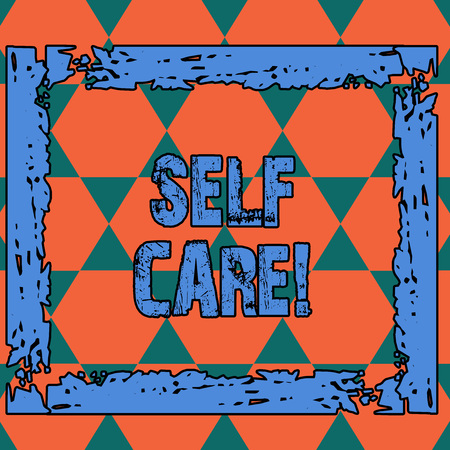 Conceptual hand writing showing Self Care. Concept meaning practice of taking action preserve or improve ones own health Seamless Triangles Positioned Up and Down Forming Hexagon Shape