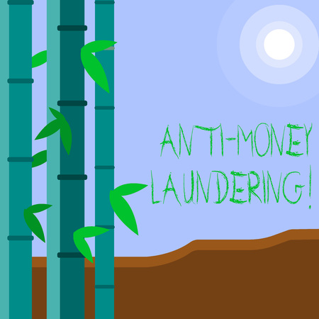 Word writing text Anti Money Laundering. Business photo showcasing regulations stop generating income through illegal actions Colorful Sets of Leafy Bamboo on Left Side and Moon or Sun with Round Beam Stock Photo