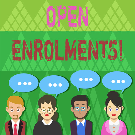 Text sign showing Open Enrolments. Business photo text when employees may make changes to elected fringe benefit Group of Business People with Blank Color Chat Speech Bubble with Three Dots 版權商用圖片