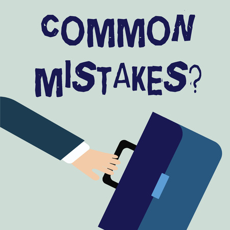 Writing note showing Common Mistakes Question. Business concept for repeat act or judgement misguided making something wrong Rushing Businessman Swayed Farther Back and Holding Briefcase