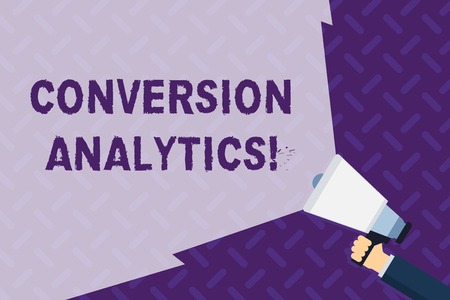 Text sign showing Conversion Analytics. Business photo showcasing action that s is counted when someone interacts with ad Hand Holding Megaphone with Blank Wide Beam for Extending the Volume Range