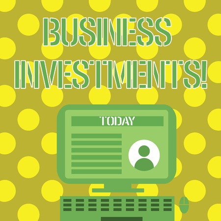 Word writing text Business Investments. Business photo showcasing act of committing money or capital to an endeavor Desktop Computer Mounted on Stand with Online Profile Data on Monitor Screen
