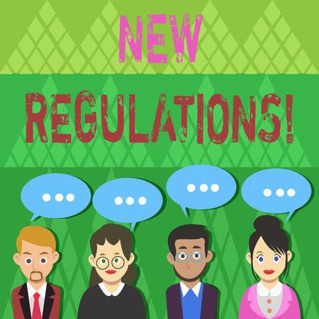 Textschild mit neuen Vorschriften. Geschäftsfoto-Textregeln machten die Regierungsanordnung dazu, etwas zu kontrollieren, was eine Gruppe von Geschäftsleuten mit leerer Farb-Chat-Sprechblase mit drei Punkten getan hat
