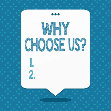 Handwriting text Why Choose Us Question. Conceptual photo list of advantages and disadvantages to select product service Blank Space White Speech Balloon Floating with Three Punched Holes on Top Reklamní fotografie
