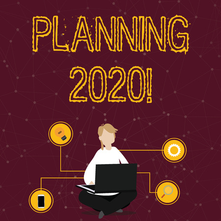 Word writing text Planning 2020. Business photo showcasing process of making plans for something next year Woman Sitting Crossed Legs on Floor Browsing the Laptop with Technical Icons