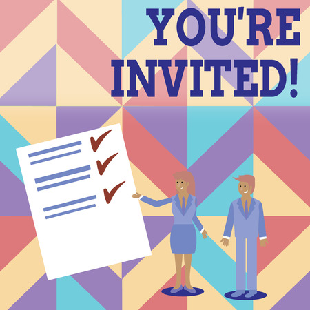 Conceptual hand writing showing You Re Invited. Concept meaning make a polite friendly request to someone go somewhere Man and Woman Presenting Report of Check and Lines on Paper Stock Photo