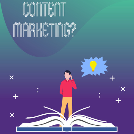 Writing note showing Content Marketing Question. Business concept for involves creation and sharing of online material Man Standing Behind Open Book Jagged Speech Bubble with Bulb