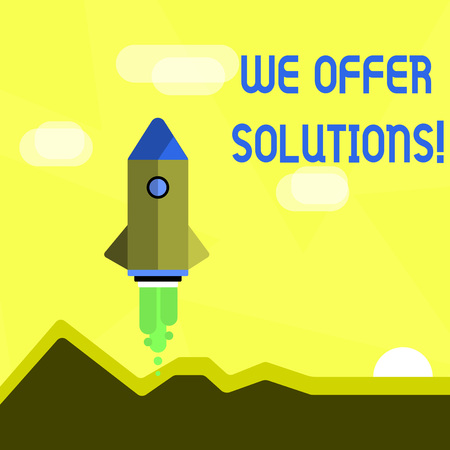 Handwriting text We Offer Solutions. Conceptual photo way to solve problem or deal with difficult situation Colorful Spacecraft Shuttle Rocketship Launching for New Business Startup 스톡 콘텐츠