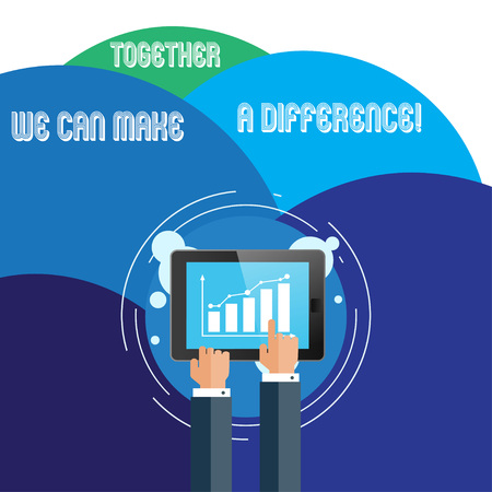Handwriting text Together We Can Make A Difference. Conceptual photo be very important some way in like team or group Businessman Hand Touching Pointing to Bar Line Chart on Smartphone Screen