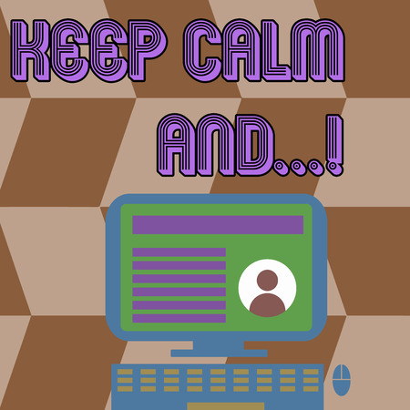 Writing note showing Keep Calm And. Business concept for motivational poster produced by British government Computer Mounted on Stand with Online Profile Data on Screen 스톡 콘텐츠