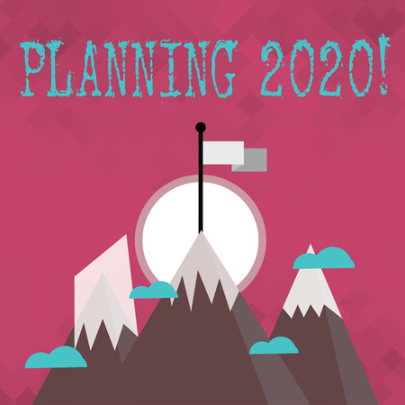 Writing note showing Planning 2020. Business concept for process of making plans for something next year Three High Mountains with Snow and One has Flag at the Peak Imagens