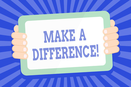Text sign showing Make A Difference. Business photo text have significant effect or non on demonstrating or situation Color Tablet Smartphone with Blank Screen Handheld from the Back of Gadget Banco de Imagens