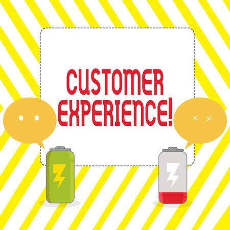 Conceptual hand writing showing Customer Experience. Concept meaning product of interaction between organization and buyer Fully Charge and Discharge Battery with Emoji Speech Bubble