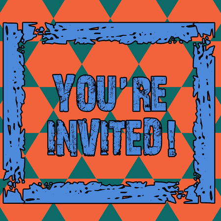 Conceptual hand writing showing You Re Invited. Concept meaning make a polite friendly request to someone go somewhere Seamless Triangles Positioned Up and Down Forming Hexagon Shape