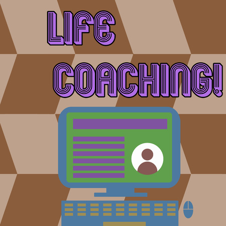 Writing note showing Life Coaching. Business concept for demonstrating employed to help showing attain their goals in career Computer Mounted on Stand with Online Profile Data on Screen 스톡 콘텐츠