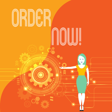 Handwriting text Order Now. Conceptual photo confirmed request by one party to another to buy sell Woman Standing and Presenting the SEO Process with Cog Wheel Gear inside